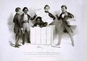 "An 1850 engraving of Henry ""Box"" Brown emerging from his box in the office of the Pennsylvania Anti-Slavery Society. Frederick Douglass is shown on the left."