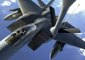 An F-15C Eagle prepares to refuel.
