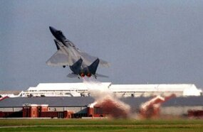 An F-15's high thrust-to-weight ratio and low wing loading let it shoot off the ground at a sharp angle.