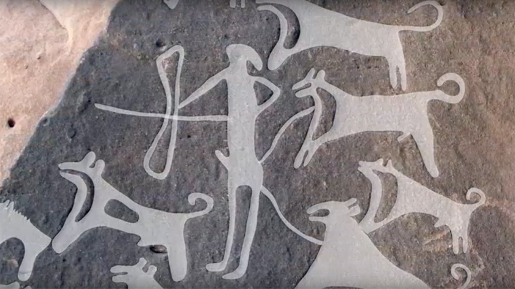 Saudi Arabian Rock Art Depicts Prehistoric Dogs on Leashes