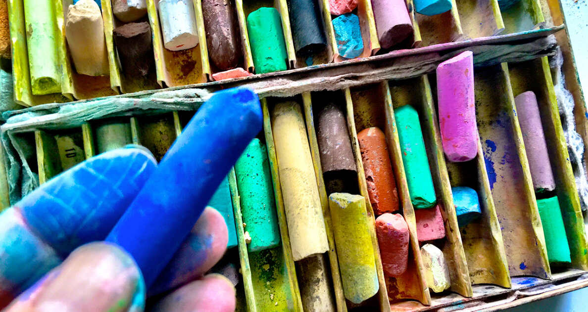 The Conté crayon is an offspring of pastels (seen here), which are based on mixing pigment with chalk rather than wax. Alice Day/EyeEm/Getty Images