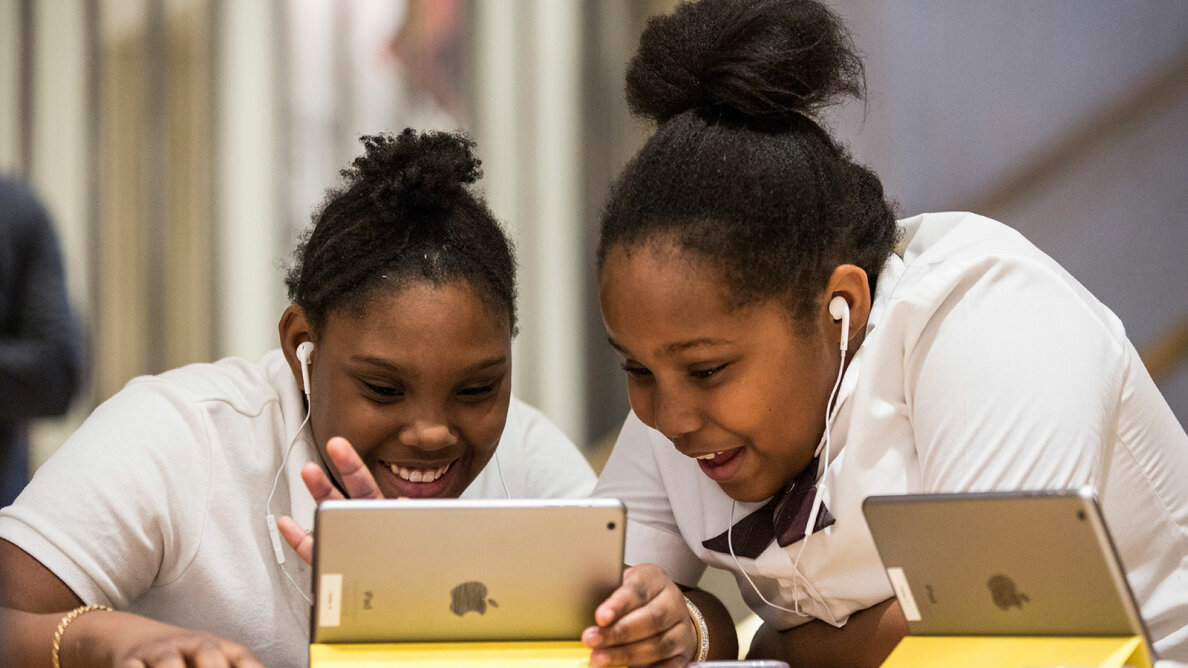 Hour of Code workshop, two girls