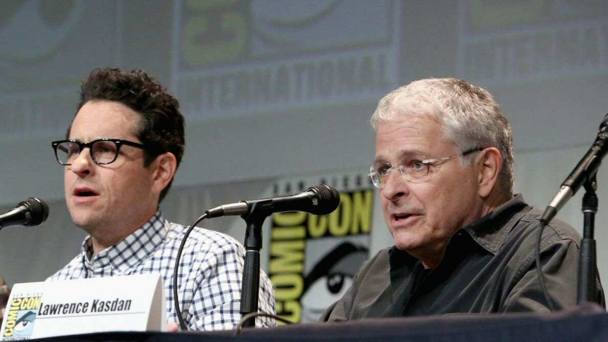 "J.J. Abrams and Lawrence Kasdan talking about ""The Force Awakens"" at San Diego Comic Con 2015 Jesse Grant/Getty Images for Disney"
