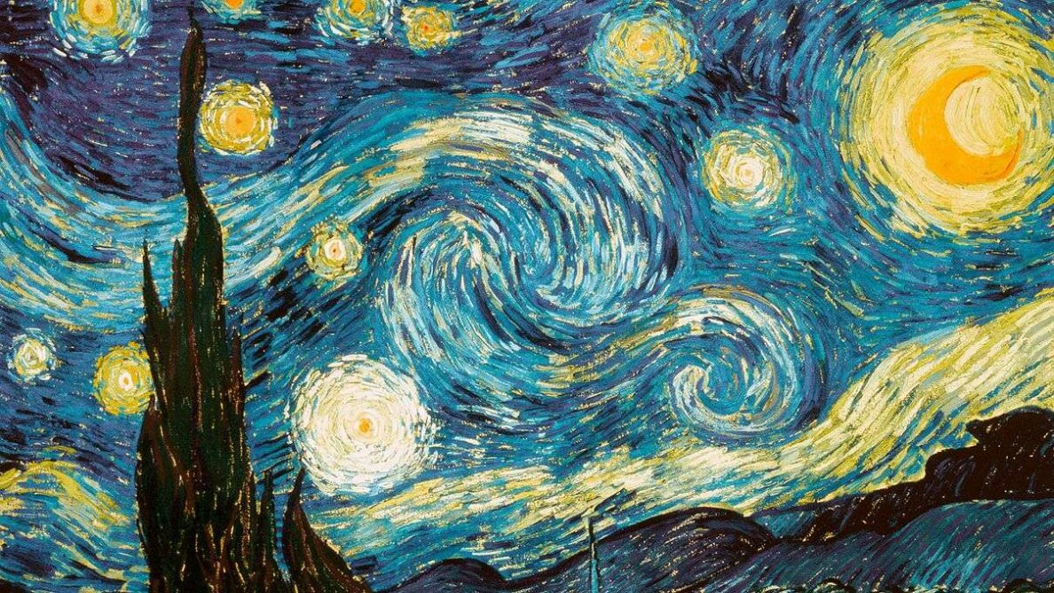 "Turkish artist Garip Ay recreated ""The Starry Night"" painting with oil on water. YouTube/SuperStock/Getty Images"