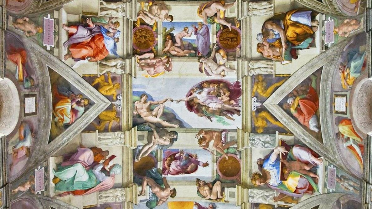 A new examination of Michelangelo Buonarotti's Sistine Chapel ceiling frescoes suggests hidden references to female anatomy. Michel Falzone