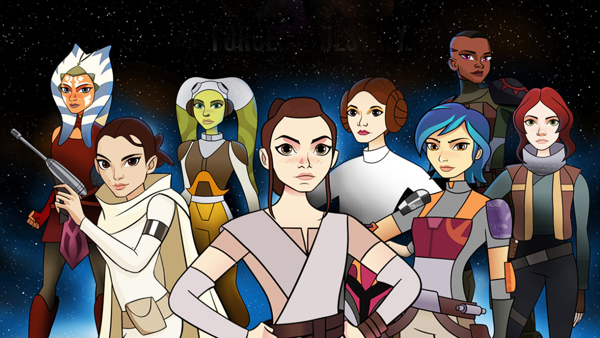 "The online-first series ""Star Wars Forces of Destiny"" features short animated vignettes centered around the female characters of the iconic franchise. Lucasfilm"