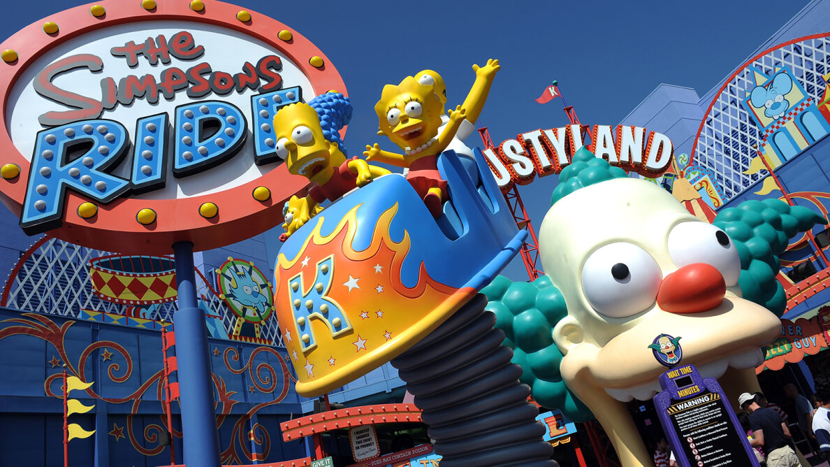 The Simpsons have provided many other forms of entertainment besides prime-time television, including thrills for amusement park visitors. GABRIEL BOUYS/AFP/GettyImages