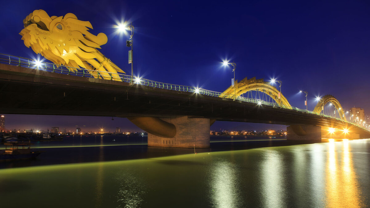 2. Vietnam's Rong Dragon Bridge Actually Breathes Fire