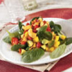 Chicken, Spinach and Mango Salad with Warm Tomato Vinaigrette