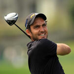 Golfer Edoardo Molinari grins after his last drive at the Arnold Palmer Invitational.