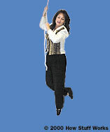 Film of the actress dangling from a rope in the studio, shot in front of a blue screen