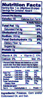 The full fat chips have 150 calories and 10 grams of fat per serving.