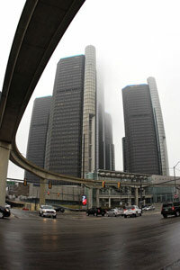 The General Motors headquarters building in Detroit. The giant automakers announced the largest profits in its history -- some $7.5 billion -- in February 2012.
