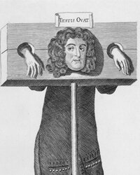 Titus Oates is depicted standing in the pillory after being convicted of purjury.