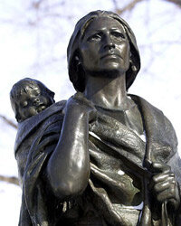 A statue of Sacagawea and her son, Jean Baptiste, in Bismark, N.D.
