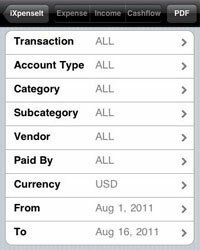 The iXpenseIt app allows you to track expenses by date, transaction type, amount and more.