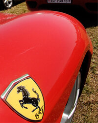 A view of the Ferrari logo at the luxury and racing automaker's 60th anniversary celebrations at the headquarters Fiorano race track, in Maranello central Italy.