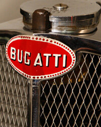 The badge on an extremely rare 1937 Bugatti Type 57S Atalante is seen at Phoenix Green garage in Hartley Wintney, in Hampshire, England.