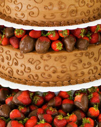 There's a classic strawberry shortcake hiding under that chocolate ganache and those dipped berries.