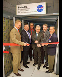 Awww yeah. NASA's ribbon-cutting crew for Pleiades gets ready to celebrate on Dec. 11, 2008.