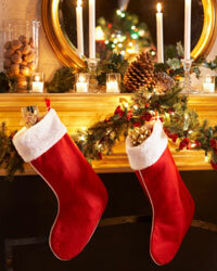 Stockings hung by the chimney (with care) are part of a fun Christmas tradition.