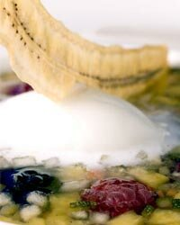 Kids refusing to eat their vegetables? Have them give this slightly sweet veggie and berry soup with a dollop of lemon ice cream on top a try.