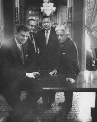 Nebraska senator Roman Hruska (center), gave an impassioned speech on the virtues of mediocrity.