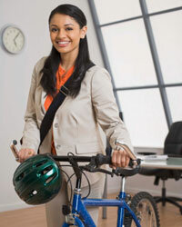 If you can, ride your bike to work -- just don't forget your helmet and some clean clothes for the office!