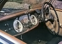 The sporty dash featured large gauges.