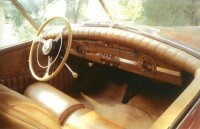 The interior of the 1940 Packard Darrin was notable for its padded dash.
