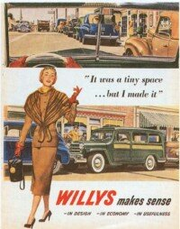 The new Jeep Willy ad campaigns continued to stress usefulness and economy after the war.