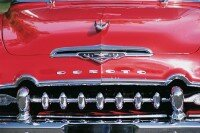 The toothy grin of the 1955 DeSoto Firedome makes a distinctive first impression.