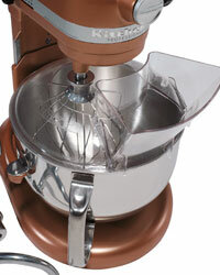 Flour clouds and batter splatters will be a mess of the past if you add a pouring shield onto your mixer's bowl.