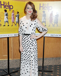 """Emma Stone pulled on floor-length polka dots for the U.K. premier of """"The Help."""""""