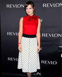 Actress Olivia Wilde opted for a blast of red at this December 2011 event.