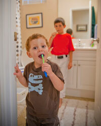 Siblings compete over everything anyway, so put their rivalry to good use by making a daily tooth-brushing contest.