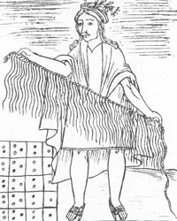 This 1565 illustration of the Keeper of the Quipu, a device used by the Incas to record mathematical data and possibly non-numerical information as well, is from a drawing by Felipe Guaman Poma depicting Peruvian life.