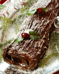 A Yule log-shaped cake brings the flavors of France to your dinner table. Add your own marzipan mushrooms for extra whimsy.