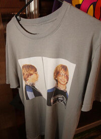 A T-shirt from Microsoft's clothing line features a photo of Microsoft chairman Bill Gates' infamous 1977 mug shot.