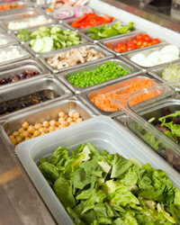 Surprisingly, the salad bar can be a source of high-sodium foods.