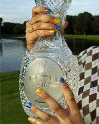 The cause of Swedish golfer Maria Hjorth's yellow (and blue) nails is pretty benign: nail polish.