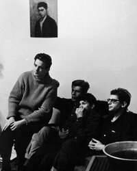 Some members of the Beat movement, like Allen Ginsberg (on the right, pictured with musician David Amram and fellow poets Peter Orlovsky and Gregory Corso), went on to be influential in the '60s cultural and political movements as well.