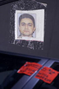 A picture of Mohamed Atta taped to the inside of a car once rented by the hijacker.