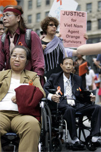 Vietnamese civilians exposed to Agent Orange and others head to U.S. court in June 2007 in New York.