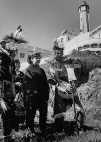 Sioux tribesmen staking claim to live and farm on Alcatraz.