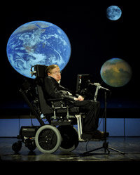 Stephen Hawking has lived with ALS for the majority of his life. He's pictured delivering a lecture to mark NASA's 50th anniversary in 2008.