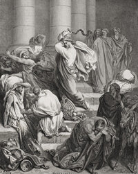 The story of Jesus in the temple, a famous story of biblical anger, appears in all four Gospels.