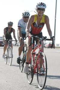 Actress Teri Hatcher rides a bicycle while training for the Nautica Malibu Trialthlon in Malibu, Calif. on Sunday, Sept. 6, 2009.