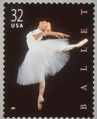 "This 1998 postage stamp shows a dancer caught in an ""attitude derrière"" pose."