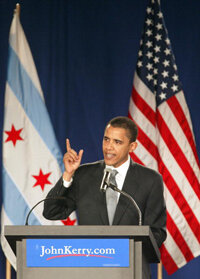 U.S. Senator for Illinois Barack Obama speaks on behalf of Democratic Party nominee John Kerry in Chicago during the 2004 primaries.